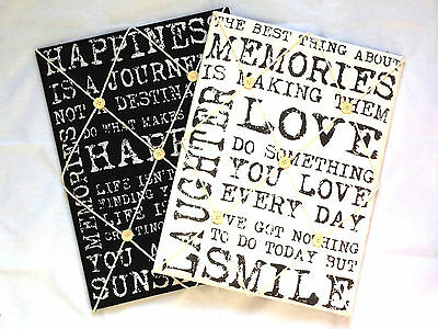 Vintage Quote Padded Notice Pin Fabric Memo Board Black Or White Writing Kitchen • 9.99£
