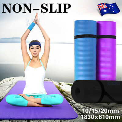 AU29.99 • Buy 10/15/20MM Thick Yoga Mat Pad NBR Nonslip Exercise Fitness Pilate Gym Durable AU