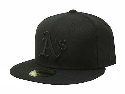 reputable site bcf48 c85ff New Era 59Fifty Cap MLB Oakland Athletics Mens Adult Black Fitted 5950 Hat  A s • 31.99