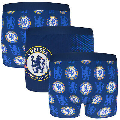Chelsea FC Official Football Gift 3 Pack Boys Crest Boxer Shorts • 9.99£