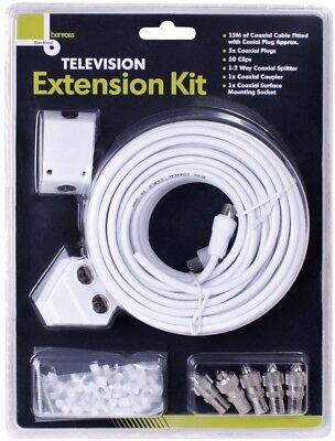 15M Coaxial Television TV Extension Kit Cable Lead Wire Plugs Aerial Splitter • 7.69£