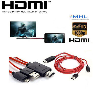 AU19.42 • Buy 1080P MHL Micro USB To HDMI HDTV Cable Adapter For Android Samsung LG HTC Phones