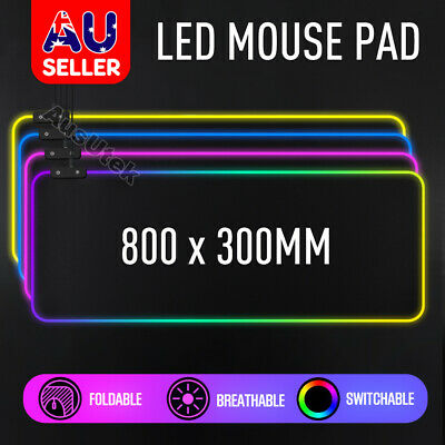 AU24.95 • Buy AU RGB LED Gaming Mouse Pad Desk Mat Extended Anti-slip Rubber Speed Mousepad