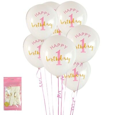AU2.99 • Buy Happy Birthday 1 Girl Pack Of 6 Helium Quality Latex 1st First Party Balloons