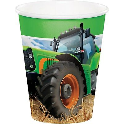 AU5.99 • Buy Tractor Farm Birthday Party Supplies Paper Cups (pack Of 8) 266ml