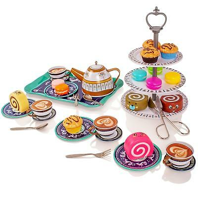 £13.50 • Buy Childrens Metal Afternoon Tea-Set Play Food Toy Kitchen Teapot Cups Saucers Cake