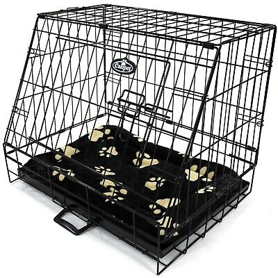 """£41.99 • Buy Small Car Dog Cage With Bed Sloping Travel Crate Puppy Pet Cat Carrier 24"""""""