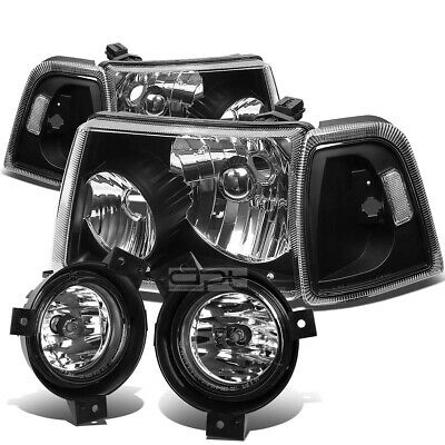 $112.99 • Buy For 01-03 Ford Ranger Black Clear Headlight+turn Signal+chrome Oe Fog Light