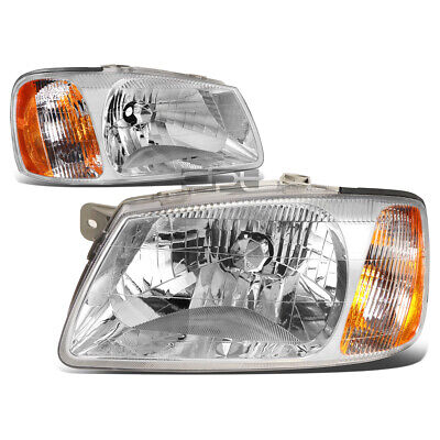 $58.88 • Buy Fit 2000-2002 Accent Pair Chrome Housing Amber Corner Bumper Headlight/Lamp Set