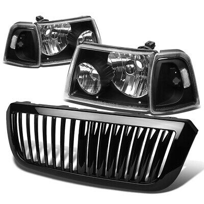$127.96 • Buy For 04-05 Ford Ranger Black Headlight+clear Corner Light+grille Guard Cover Kit