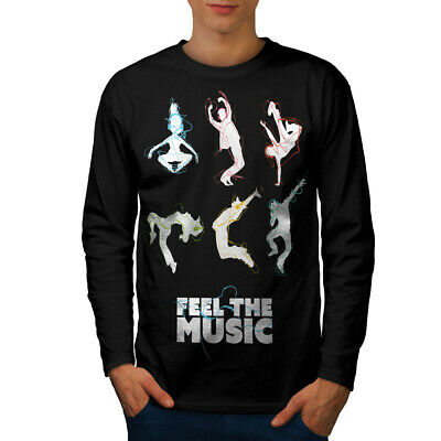 Wellcoda Feel Dj Song Dance Mens Long Sleeve T-shirt, Headphone Graphic Design • 17.99£