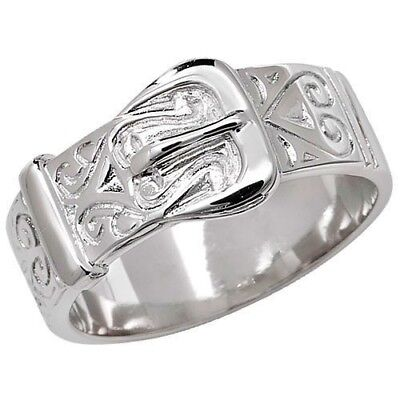 925 Sterling Silver Chunky Buckle Ring - ALL SIZES AVAILABLE - Men's Or Ladies • 22.95£