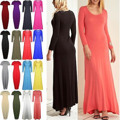 £11.49 • Buy Womens Maxi Dress Ladies 3/4 Sleeve Celebrity Stretchy Flared Swing Long Dresses
