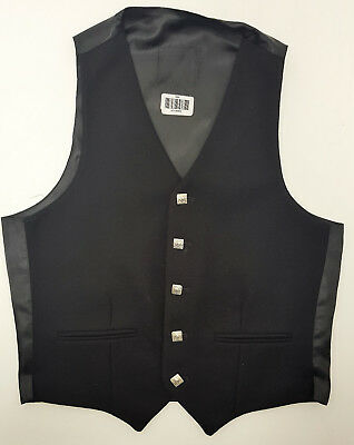 Ex Hire A1 Condition Black Wool Argyll Waistcoat Vest 4 Kilts SALE 32 To 48  • 25£