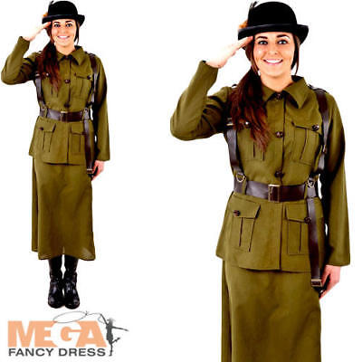 Army 1940s Ladies Fancy Dress WW2 40s Military Uniform Womens Adults Costume New • 29.99£