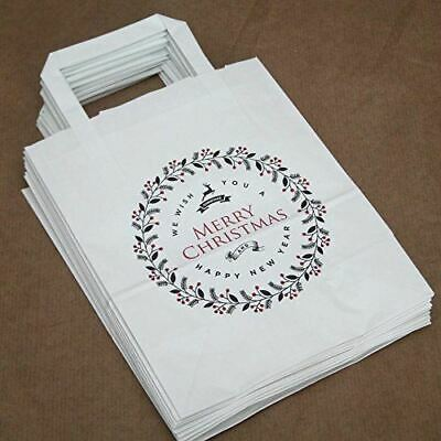 £5.95 • Buy White Merry Christmas Party Bags | Festive Handled Paper Gift Bags X10