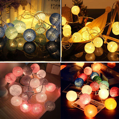 20 LED Globe Garland Cotton Ball String Fairy Lights Christmas Decorate UK Plug • 7.69£