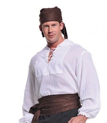 $19.46 • Buy Pirate Costume Shirt Mens Adult Lace Up Cream Renaissance Medieval Colonial