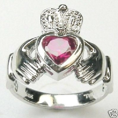 £247.73 • Buy Diamond Claddagh Created Red Ruby Ring 14k White Gold