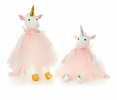 Plush Cuddly Unicorn Soft Toy Pink Tulle Dress Christmas Gift Gold | Silver Horn • 9.99£