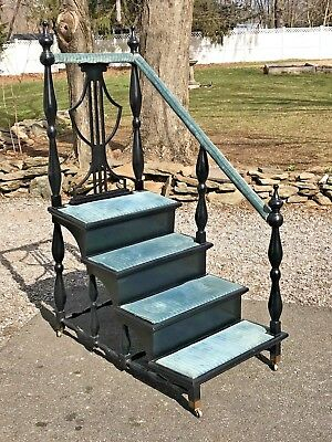 $1250 • Buy Antique Georgian Shield Back LIBRARY STEPS STAIRS Shelf On Casters