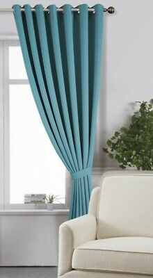 Eyelet Ring Top Door Curtain 66  X 90  Light Blocking Blackout With Tie Back • 19.99£
