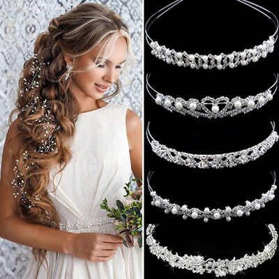 $ CDN4.76 • Buy Wedding Bridal Accessories Crystal Pearl Headband Headpiece Hair Band Tiara Lot