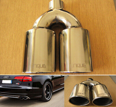 £39.59 • Buy Chrome Steel Twin Exhaust Tip 49mm Double Tail Pipe Sports Trim S8 Style