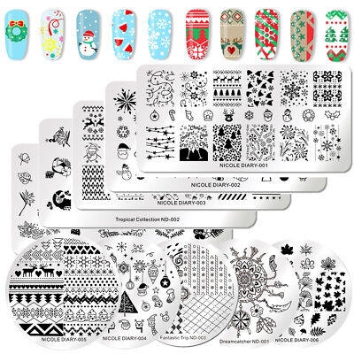 $0.70 • Buy NICOLE DIARY Nail Art Stamping Plates Christmas Theme Flower Design Image Tools