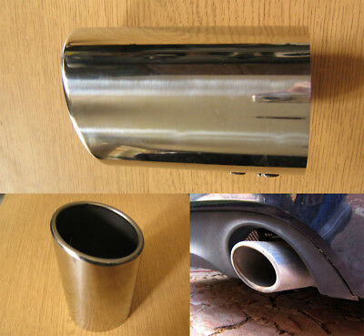 £32.57 • Buy Stainless Steel Chrome Exhaust Tip 88mm Tail Pipe Sports Oval Trim Audi Style