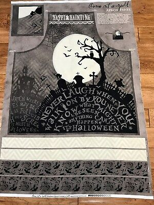£5.75 • Buy Come Sit A Spell Halloween Cotton Apron Fabric Panel Wilmington