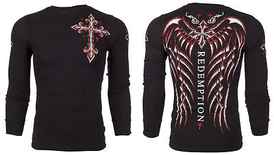 $24.99 • Buy ARCHAIC By AFFLICTION Mens LONG SLEEVE THERMAL Shirt SPINE WINGS Biker $58