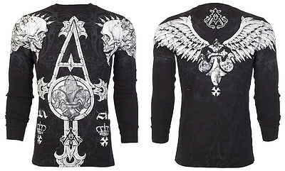 $24.99 • Buy ARCHAIC By AFFLICTION Mens LONG SLEEVE THERMAL Shirt TALL TALE Skulls $58