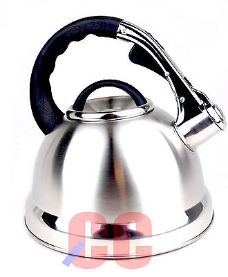 Whistling Stainless Steel Kettle 3.5Ltr Largest Silver Chrome GAS HOB STOVE • 16.59£