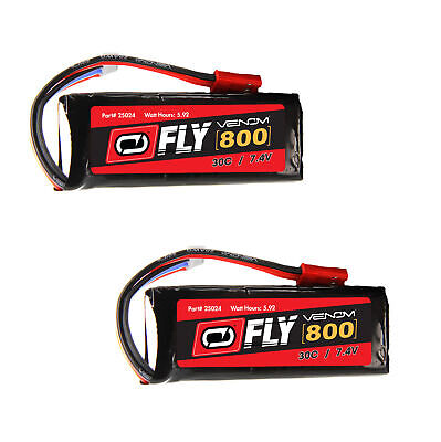 $ CDN36.90 • Buy Venom Fly 30C 2S 800mAh 7.4V LiPo Battery With JST Plug X2 Packs