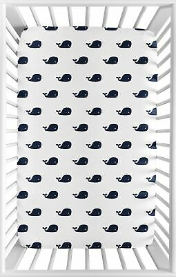 $19.99 • Buy Navy Blue And White Baby Fitted Mini Portable Crib Sheet For Jojo Whale Bedding