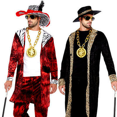 Pimp Mens Fancy Dress 1980s Big Daddy Gangster Swag Suit Adults Costume Outfits • 19.99£