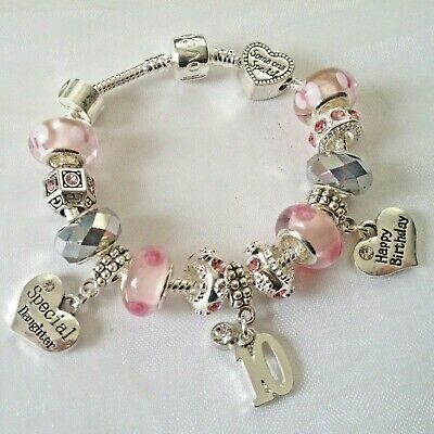 Girls PINK Personalised HAPPY BIRTHDAY + Message + AGE Charm Bracelet GIFT BOX • 8.99£