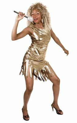 Womens Gold Tina Turner Rock Queen Costume Pop Star 80s Fancy Dress Outfit • 15.05£