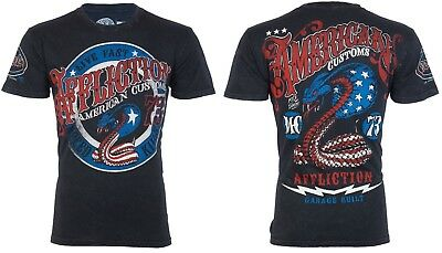 Affliction Short Sleeve T-Shirt Mens KISS OF DEATH Black Lava Wash S-3XL NWT • 29.99$