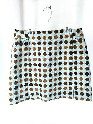 Boden Skirt British Tweed By Moon Polka Dot Baby Blue With Brown Dots US 10 S • 32.19£