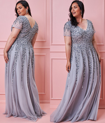 £69.99 • Buy Goddiva Silver Sequin Inserts Maxi Evening Dress Ballgown Prom Party RRP £120