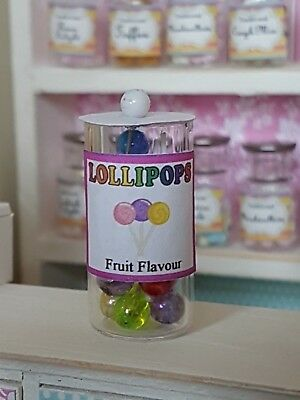 LOLLIPOPS Jar Dolls House 1:12th Scale Sweet Shop Candy Lolly Lollies DH12 • 5£