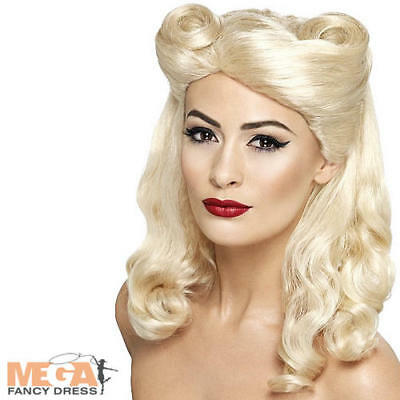 1940s Pin Up Blonde Wig Ladies WW2 Fancy Dress Costume Womens Outfit 40s Wig • 14.99£