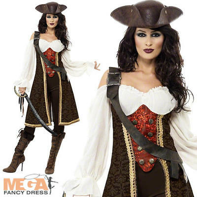 Deluxe Pirate Wench Ladies Fancy Dress Womens Adults Halloween Costume Outfit • 29.99£
