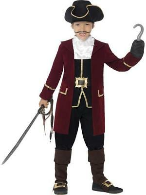 Deluxe Pirate Captain Boys Fancy Dress Caribbean Buccaneer Childrens Kid Costume • 12.99£