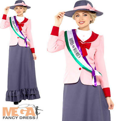 £25.99 • Buy Victorian Suffragette Ladies Fancy Dress Pankhurst Dickens Womens Adults Costume