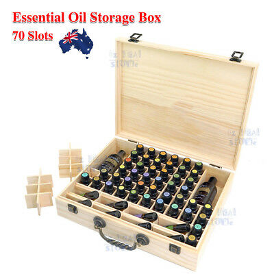 AU21.46 • Buy 70 Slot Aromatherapy Essential Oil Storage Box Wooden Case Container Holder OZ