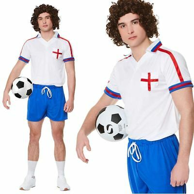 £13.99 • Buy  Mens 80s England Football Player Costume Kevin Keegan Fancy Dress Sports Outfit