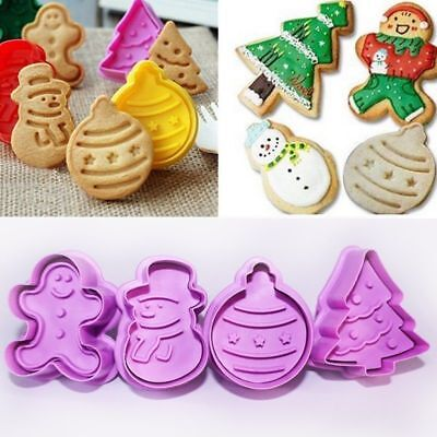 £2.99 • Buy 4x Christmas Cookies Plunger Cutter Mould Fondant Cake Decor Biscuit Icing Mold